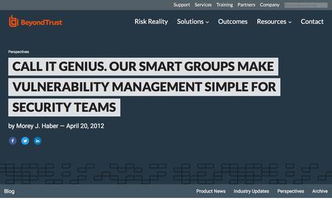 Screenshot of Team Page beyondtrust.com - Call it Genius. Our Smart Groups Make Vulnerability Management Simple for Securi | BeyondTrust - captured Jan. 3, 2020