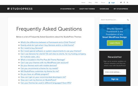 Screenshot of FAQ Page studiopress.com - Frequently Asked Questions for StudioPress Premium WordPress Themes (FAQ's) - captured Oct. 26, 2014
