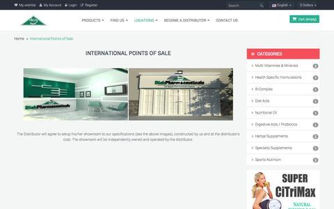Screenshot of Locations Page diakpharma.com - International Points of Sale - DiakPharma - captured Oct. 5, 2014