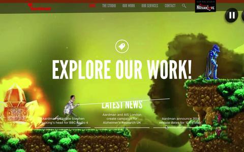 Screenshot of Home Page aardman.com - Aardman - captured Feb. 2, 2016