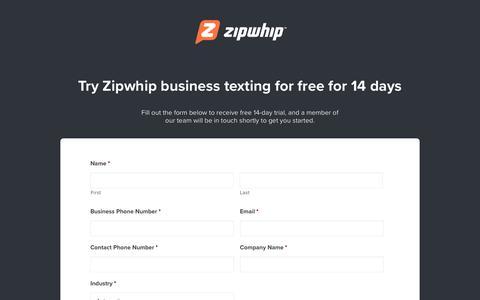 Screenshot of Trial Page zipwhip.com - 14-Day Free Trial | Zipwhip - captured Dec. 11, 2017