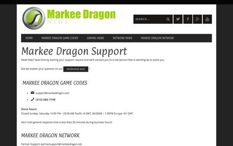 Screenshot of Support Page markeedragon.com - Markee Dragon Support | Markee Dragon - captured Oct. 27, 2014