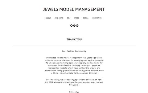 Screenshot of About Page jewelsmodelmanagement.com - Jewels Model Management  - ABOUT - captured Aug. 7, 2016