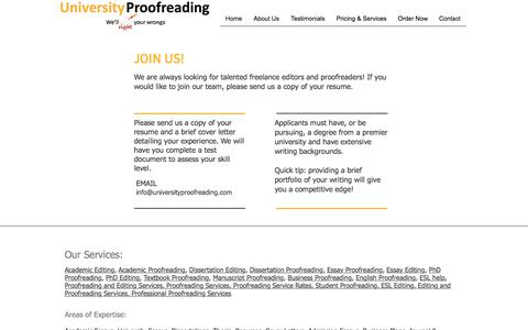 Screenshot of Jobs Page universityproofreading.com - Careers - captured June 19, 2017