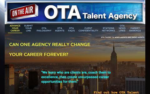 Screenshot of Home Page tvnewsagents.com - OTA Talent Agency TV News Agents - captured Jan. 28, 2018