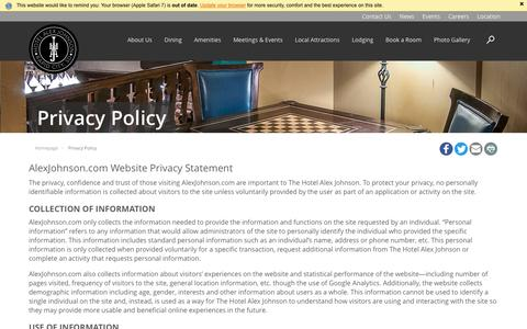 Screenshot of Privacy Page alexjohnson.com - Hotel Alex Johnson | Privacy Policy - captured June 17, 2016