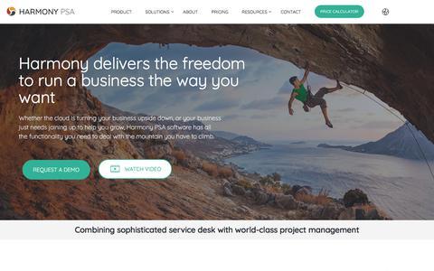 Screenshot of Home Page harmonypsa.com - Harmony PSA   Next-Gen PSA Software - captured July 8, 2019
