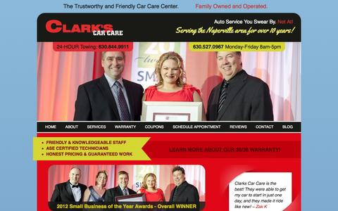 Screenshot of Home Page clarkscarcare.com - Naperville's Trusted Mechanic, Naperville Mechanic, Aurora Auto Repair - captured Sept. 29, 2014