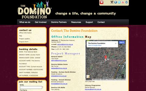 Screenshot of Contact Page Maps & Directions Page domino.org.za - Domino Foundation :: Contact Us - captured Oct. 27, 2014