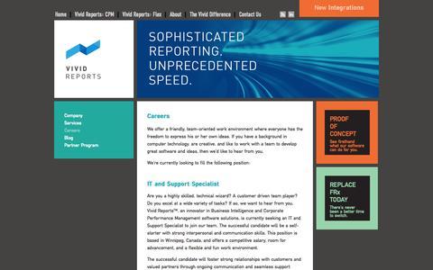 Screenshot of Jobs Page vividreports.com - Careers - Vivid Reports - captured Oct. 27, 2014
