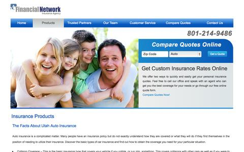 Screenshot of Products Page financialnetworkins.com - Products | Financial Network Insurance Agency - captured Oct. 5, 2014