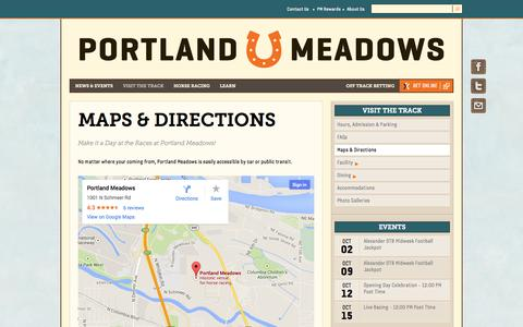 Screenshot of Maps & Directions Page portlandmeadows.com - Maps & Directions | Portland Meadows - captured Sept. 30, 2014