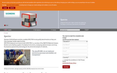 Screenshot of Case Studies Page siemens.com - Spectro — Siemens PLM - IBS QMS - captured July 27, 2017