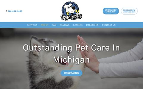 Screenshot of About Page doggielatchkey.com - Pet Care | Insured Pet Sitters | Doggie Latchkey - captured Oct. 9, 2018