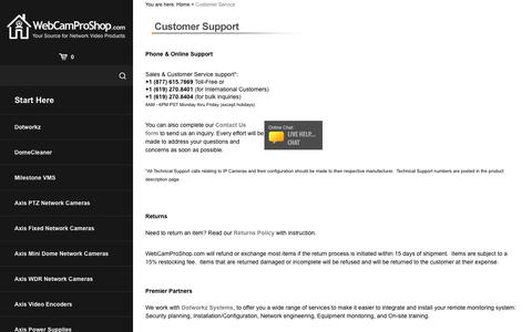Screenshot of Support Page webcamproshop.com - Customer Service and Store Help - captured Oct. 20, 2018