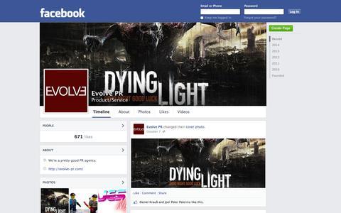 Screenshot of Facebook Page facebook.com - Evolve PR | Facebook - captured Oct. 23, 2014