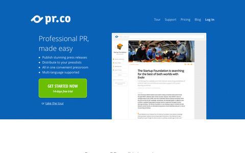 Screenshot of Home Page pr.co - Professional PR, made easy - pr.co - captured Sept. 18, 2014