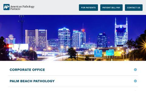 Screenshot of Contact Page ap2.com - Contact - American Pathology Partners      American Pathology Partners - captured July 6, 2017