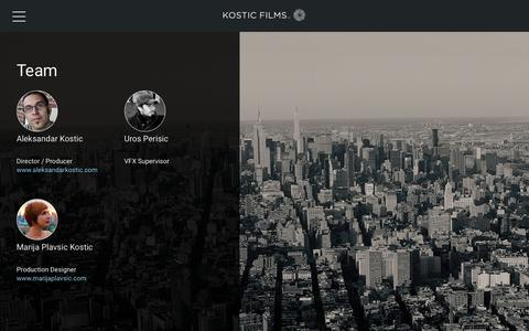 Screenshot of Team Page kosticfilms.com - Team - KosticFilms - captured Oct. 16, 2018