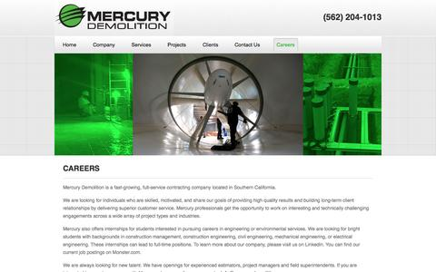 Screenshot of Jobs Page mercurydemolition.com - Careers | Mercury Demolition - captured Oct. 27, 2014