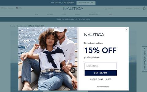 Screenshot of Signup Page nautica.com - Email Signup | Nautica - captured Sept. 13, 2019