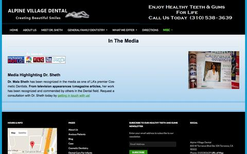Screenshot of Press Page alpinedentist.net - inthemedia | Alpine Village Dental - captured May 23, 2016