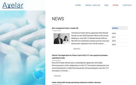 Screenshot of Press Page axelar.se - News   Axelar AB - captured Oct. 4, 2018