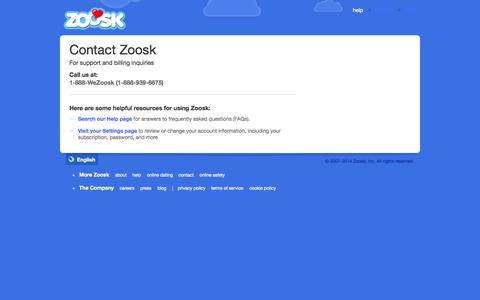Screenshot of Contact Page zoosk.com - Contact Zoosk Customer Support | Zoosk.com - captured Sept. 17, 2014
