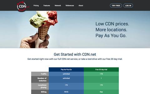 Screenshot of Pricing Page cdn.net - CDN Pricing | Pay As You Go CDN | CDN.net - captured Sept. 25, 2014