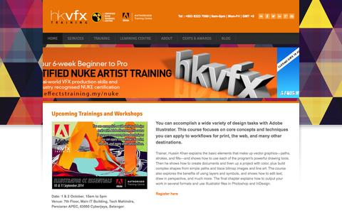 Screenshot of Home Page hussinkhan.com - HKVFX | AUTHORISED VFX & ADOBE WORKSHOPS IN MALAYSIA - visual effects training in malaysia using adobe and nuke - captured Oct. 1, 2014