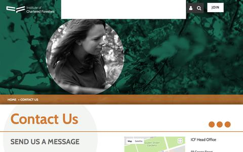 Screenshot of Contact Page charteredforesters.org - Contact Us | Institute of Chartered Foresters - captured Oct. 15, 2017