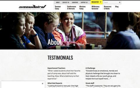 Screenshot of Testimonials Page swoutfitters.com - Testimonials – Snowbird Wilderness Outfitters : Snowbird Wilderness Outfitters - captured Jan. 23, 2018
