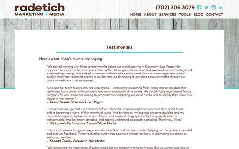 Screenshot of Testimonials Page ninaradetich.com - Testimonials - Nina Radetich - captured Nov. 30, 2016