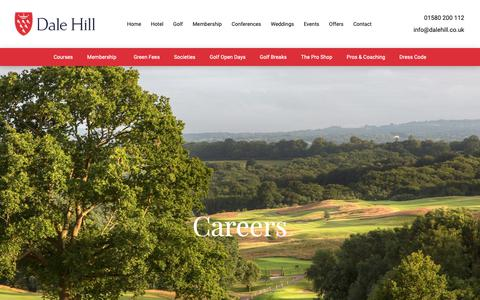 Screenshot of Jobs Page dalehill.co.uk - Careers at Dale Hill Golf Course & Hotel East Sussex - captured Nov. 13, 2018