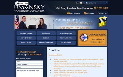Screenshot of Press Page thelawman.net - Umansky Press Room | Lawyer Press Releases Florida - captured Oct. 6, 2014