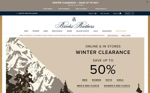 Screenshot of Home Page brooksbrothers.com - Brooks Brothers | Clothing for Men, Women, and Kids - captured Jan. 4, 2016
