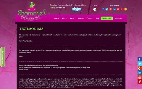 Screenshot of Testimonials Page shamarie.com.au - Testimonials - Shamaries Body & Mind Therapies - captured Feb. 14, 2016
