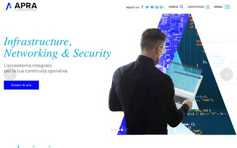 Screenshot of Home Page apra.it - Home | Apra - a Var Group company - captured Oct. 3, 2018