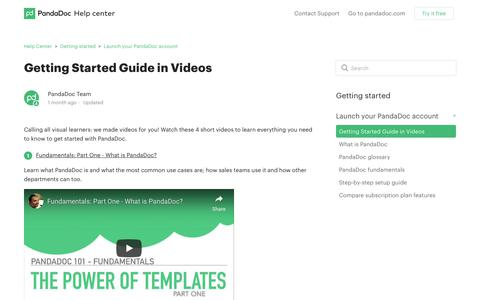 Screenshot of Support Page pandadoc.com - Getting Started Guide in Videos – Help Center - captured April 29, 2019
