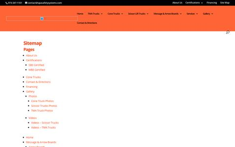 Screenshot of Site Map Page spasafetysystems.com - Site Map - TMA, Cone & Scissor Lift Trucks - S.P.A. Safety, Flanders (NJ) - captured Oct. 1, 2018
