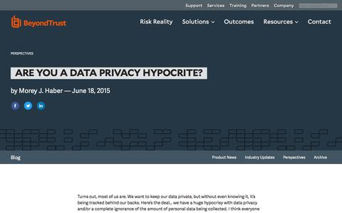Screenshot of Privacy Page beyondtrust.com - Are you a Data Privacy Hypocrite? | BeyondTrust - captured Dec. 14, 2019