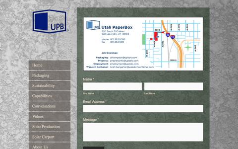 Screenshot of Contact Page upbslc.com - Contact Us — Utah Paperbox - captured Feb. 14, 2016