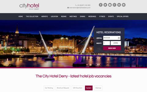 Screenshot of Jobs Page cityhotelderry.com - Career Opportunities at City Hotel Derry - captured July 18, 2018