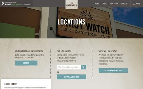 Screenshot of Locations Page firstwatch.com - Locations - First Watch - captured Nov. 9, 2018