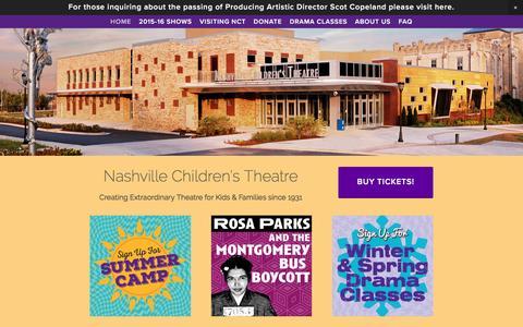 Screenshot of Home Page nashvillechildrenstheatre.org - Nashville Children's Theatre - captured Feb. 27, 2016