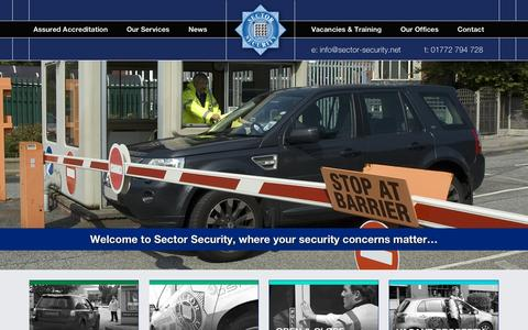 Screenshot of Home Page sectorsecurity.com - Home - Sector Security - captured Sept. 17, 2015