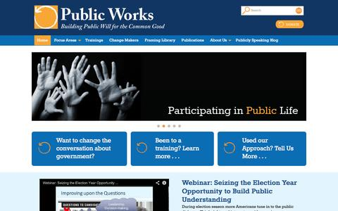 Screenshot of Home Page publicworks.org - Public Works - Building public will for the common good - captured Sept. 30, 2014