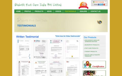 Screenshot of Testimonials Page diabeticfootcareindia.com - Diabetic Foot Care Testimonials - captured Oct. 5, 2014