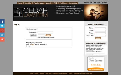 Screenshot of Login Page cedarlawfirm.com - Cedar Law Firm - Accidents and Personal Injury Attorney - captured Oct. 2, 2014