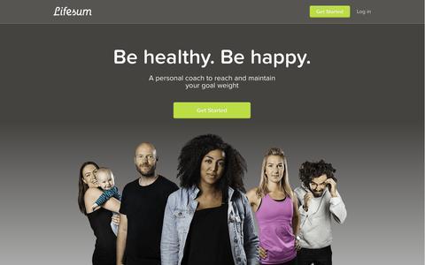 Screenshot of Login Page lifesum.com - Lifesum by ShapeUp Club Free Calorie Counter, Food & Exercise Journal by Lifesum - captured Sept. 16, 2014